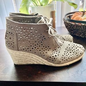 Tom's Perforated Suede Espadrille Wedge Booties